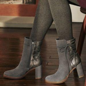 Johnston & Murphy Adley Gray Suede Snakeskin Boots
